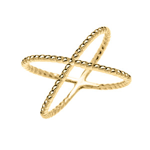 Yellow Gold Dainty Criss Cross Rope Design Ring