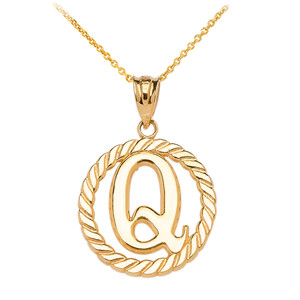 Yellow gold q initial in rope circle pendant necklace aloadofball Gallery