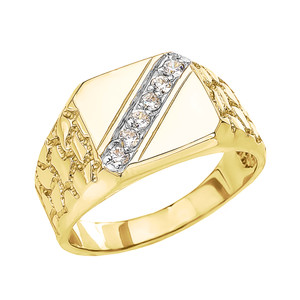 Yellow Gold Diamond Signet Men's Nugget Ring