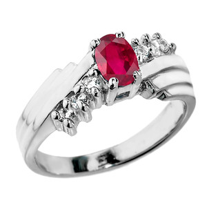 Dazzling White Gold Diamond and Ruby Proposal Ring