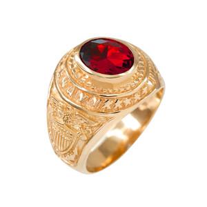 Solid Gold US Navy Men's CZ Birthstone Ring