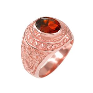 Solid Rose Gold US Navy Men's CZ Birthstone Ring