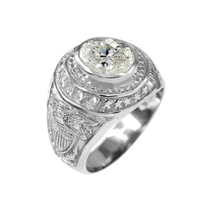 Sterling Silver US Navy Men's CZ Birthstone Ring