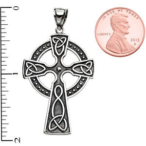Trinity Knot Celtic Cross Sterling Silver Pendant Necklace