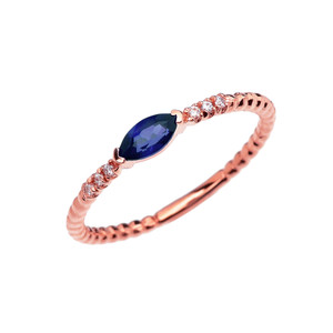 Diamond and Sapphire Marquise Solitaire Beaded Band Proposal/Stackable Rose Gold Ring