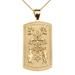 Russian Orthodox Cross Yellow Gold Engraveable Dog Tag Pendant Necklace