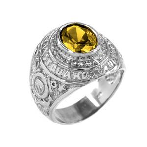 Solid White Gold US Coast Guard CZ Birthstone Ring