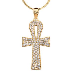 1 Carat Cubic Zirconia Yellow Gold Ankh Cross Pendant Necklace