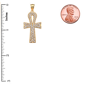 1 Carat Cubic Zirconia Yellow Gold Ankh Cross Pendant Necklace