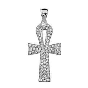 1 Carat Cubic Zirconia Sterling Silver Ankh Cross Pendant Necklace