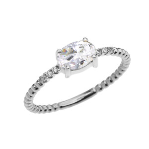 Diamond Beaded Band Ring With April Birthstone CZ Centerstone in White Gold