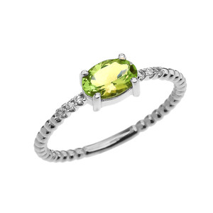 Diamond Beaded Band Ring With Peridot Centerstone in White Gold