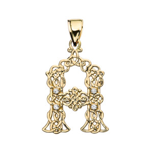 """""""A"""" Initial In Celtic Knot Pattern Yellow Gold Pendant Necklace With Diamond"""