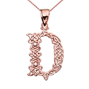 """D"" Initial In Celtic Knot Pattern Rose Gold Pendant Necklace With Diamond"