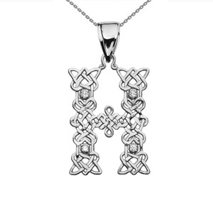 """H"" Initial In Celtic Knot Pattern White Gold Pendant Necklace With Diamond"