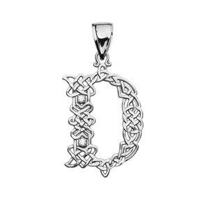"""D"" Initial In Celtic Knot Pattern Sterling Silver Pendant Necklace With CZ"
