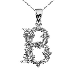 """B"" Initial In Celtic Knot Pattern Sterling Silver Pendant Necklace"