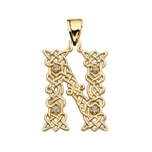 """N"" Initial In Celtic Knot Pattern Yellow Gold Pendant Necklace With Diamond"