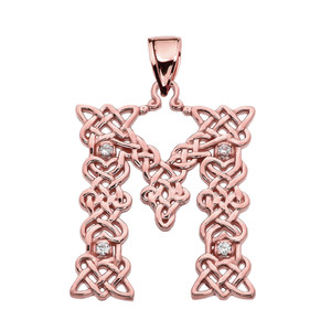 """M"" Initial In Celtic Knot Pattern Rose Gold Pendant Necklace With Diamond"