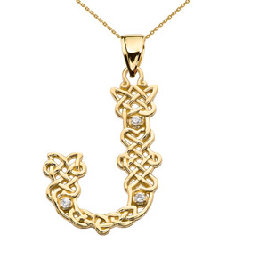 """J"" Initial In Celtic Knot Pattern Yellow Gold Pendant Necklace With Diamond"