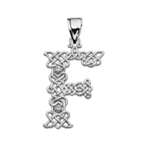 """F"" Initial In Celtic Knot Pattern White Gold Pendant Necklace With Diamond"