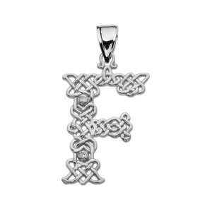 """F"" Initial In Celtic Knot Pattern Sterling Silver Pendant Necklace With CZ"