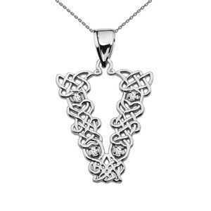 """""""V"""" Initial In Celtic Knot Pattern White Gold Pendant Necklace With Diamond"""