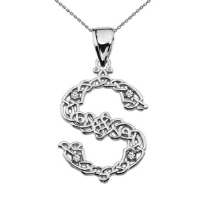 """S"" Initial In Celtic Knot Pattern Sterling Silver Pendant Necklace With CZ"