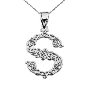"""S"" Initial In Celtic Knot Pattern Sterling Silver Pendant Necklace"