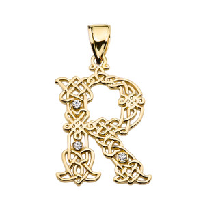 """""""R"""" Initial In Celtic Knot Pattern Yellow Gold Pendant Necklace With Diamond"""