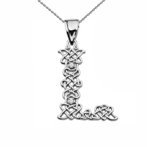 """L"" Initial In Celtic Knot Pattern Sterling Silver Pendant Necklace With CZ"