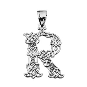 """R"" Initial In Celtic Knot Pattern Sterling Silver Pendant Necklace"