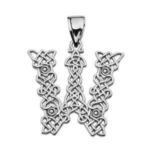 """W"" Initial In Celtic Knot Pattern Sterling Silver Pendant Necklace"