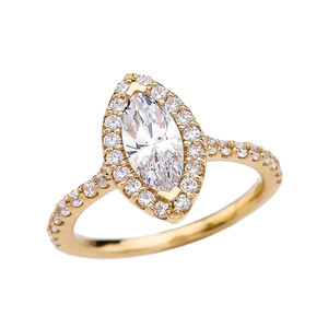 1.5 Carat Cubic Zirconia Marquise Solitaire Elegant Yellow Gold Engagement Proposal Ring