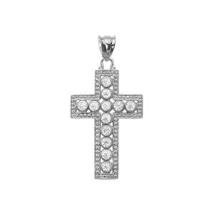 White Gold Diamond Cross  Pendant Necklace