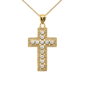 Yellow Gold Diamond Cross  Pendant Necklace