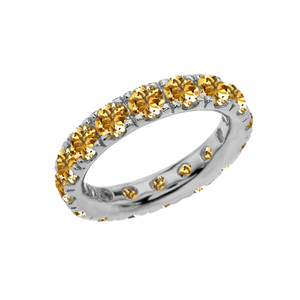 4mm Comfort Fit White Gold Eternity Band With 3.25 ct November Birthstone Genuine Citrine