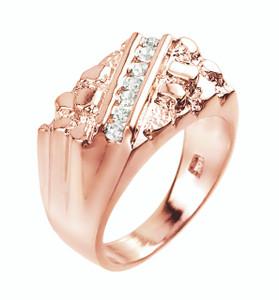 Rose Gold Cubic Zirconia Signet Nugget Men's Ring