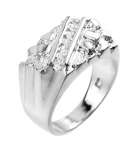 White Gold Cubic Zirconia Signet Nugget Men's Ring