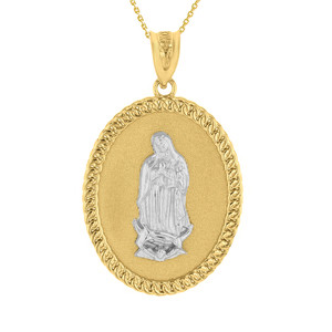 """Two Tone Solid Yellow Gold Cuban Link Framed Virgen de Guadalupe Oval Medallion Pendant Necklace  (1.29"""")"""