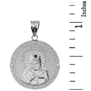 "Sterling Silver Greek Orthodox Saint Nectarios of Aegina Engravable CZ Medallion Pendant Necklace  1.01"" (25 mm)"