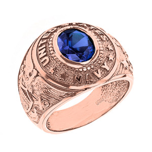 Solid Rose Gold United States Navy Men's CZ Birthstone Ring