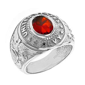 Sterling Silver United States Navy Men's CZ Birthstone Ring