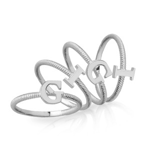 Solid White Gold Alphabet Initial Letter F Stackable Ring