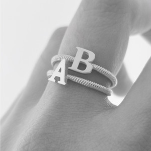 Solid White Gold Alphabet Initial Letter S Stackable Ring