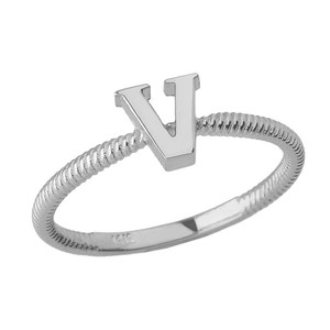 Solid White Gold Alphabet Initial Letter V Stackable Ring