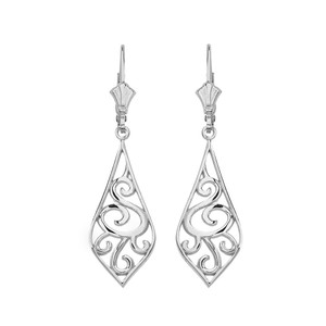 "14K Solid White Gold Teardrop Filigree Tribal  Drop Earring Set 1.42"" (36mm)"