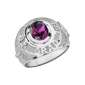 Solid White Gold High School Graduation Class of 2018 CZ Birthstone Ring