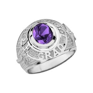 Sterling Silver High School Graduation Class of 2018 CZ Birthstone Ring