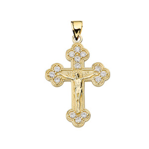 Yellow Gold Eastern Orthodox C.Z Crucifix Pendant Necklace
